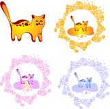 Vector cute cat. Vector cat in different colors Royalty Free Stock Photos