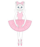 Vector cute cat in dress like ballerina. Hand drawn anthropomorp. Hic kitty, illustration for t-shirt print, kids greeting card, invitation for pet party Stock Image
