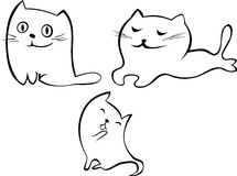 Vector cute cats. Stylized white cute cats with different characters Stock Photo