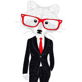 Vector cute cheerful fashion raccoon in suit. Hand drawn hipster Stock Photography