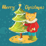 Vector cute christmas card with cat and christmas tree Royalty Free Stock Image