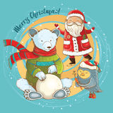 Vector cute christmas card with funny characters Royalty Free Stock Photography
