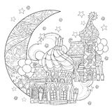 Vector cute christmas fairy tale town doodle. Stock Image