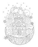 Vector cute christmas fairy tale town doodle. stock illustration