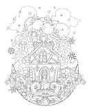 Vector cute christmas fairy tale town doodle. Vector cute christmas fairy tale town doodle on moon.Hand drawn line illustration.Sketch for postcard or print or Royalty Free Stock Image