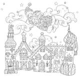 Vector cute christmas fairy tale town doodle. Royalty Free Stock Photo