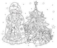 Vector cute christmas fairy tale town doodle. Stock Photo
