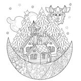 Vector cute christmas fairy tale village doodle. Royalty Free Stock Photo