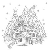 Vector cute christmas fairy tale village doodle. Royalty Free Stock Photography