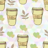 Vector cute coffee cups seamless pattern on Royalty Free Stock Images