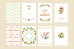 Print. Vector Cute Collection Of Autumn Cards AndI Invitations. Wiyh Hand Drawn Lettering And Flower. The Trend for banners, labels, signs, prints, posters, web Stock Photography