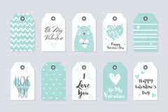 Vector cute collection of 10 gift tags. Happy Valentine's Day. Stock Images