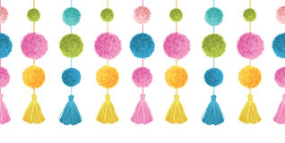 Vector Cute Colorful Birthday Party Pom Poms and Tassels Set On Strings Horizontal Seamless Repeat Border Pattern. Great Stock Images