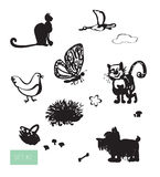 Vector cute domestic animals set. Royalty Free Stock Images