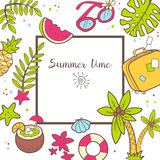 Vector cute doodle background Summer time. Square frame with pal Royalty Free Stock Image