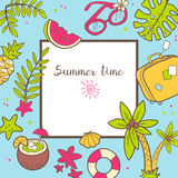Vector cute doodle background Summer time. Square frame with pal Stock Images