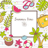 Vector cute doodle background Summer time. Square frame with pal Stock Photos