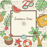 Vector cute doodle background Summer time. Square frame with pal Royalty Free Stock Photos