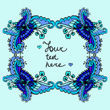 Vector cute doodle blue floral frame background Royalty Free Stock Images