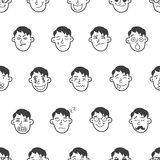 Vector cute doodle boy heads seamless pattern Royalty Free Stock Image