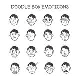 Vector cute doodle boy heads set. Emoticons Royalty Free Stock Photos