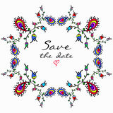 Vector cute doodle colorful floral frame. Vector cute doodle colorful  frame with empty space in center for text. Card, invitation Stock Photos