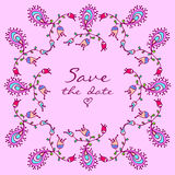 Vector cute doodle colorful floral frame Royalty Free Stock Photo