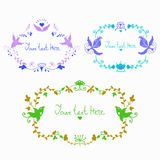 Vector cute doodle colorful floral frames. Vector cute doodle colorful  frames with birds template with empty space in center for text. Card6 invitation Stock Photos