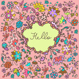 Vector cute doodle floral frame background Stock Photo