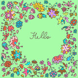 Vector cute doodle floral frame background Royalty Free Stock Photos