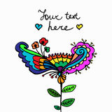 Vector cute doodle floral frame Stock Images