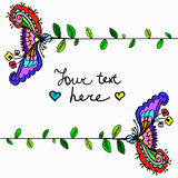 Vector cute doodle floral frame Royalty Free Stock Images