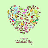 Vector cute doodle floral heart Royalty Free Stock Photography
