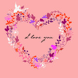 Vector cute doodle floral heart Stock Photo