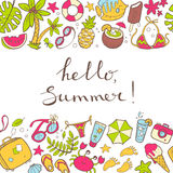 Vector cute doodle horizontal bacground Hello summer. The sea, t Royalty Free Stock Images
