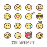 Vector cute doodle style emoticons collection. Black and white emoji set. Emotion icons. Royalty Free Stock Image