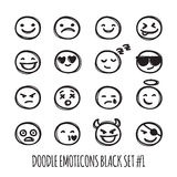 Vector cute doodle style emoticons collection. Black and white emoji set. Emotion icons. Stock Photo