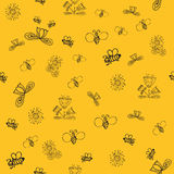 Vector cute doodle summer flowers with bee Royalty Free Stock Image