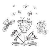 Vector cute doodle summer flowers with bee. Sketch of cute doodle summer flowers with bee. Vector illustration. Pen hand drawn vector design elements Stock Image