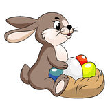 Vector cute easter bunny illustration Stock Photography