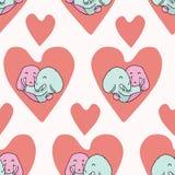 Vector cute elephant hug hearts Seamless repeat pattern vector illustration