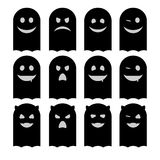 Cute emoticons set of ghosts black on white background. Halloween. Vector cute emoticons set of ghosts black on white background. Halloween is a mystical holiday vector illustration