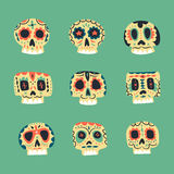 Vector cute ethnic Mexican skulls icons Royalty Free Stock Images