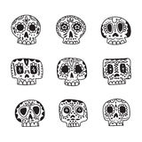 Vector cute ethnic Mexican sugar skulls icons. Day of the Dead line style symbols collection Stock Photos