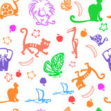 Vector cute exotic animals seamless pattern. vector illustration