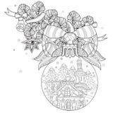 Vector cute fairy doodle christmas bells Royalty Free Stock Photos