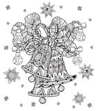 Vector cute fairy doodle christmas bells Royalty Free Stock Photo