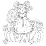 Vector cute fairy girl in flowers doodle Royalty Free Stock Images