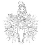 Vector cute fairy girl in flowers doodle Stock Image