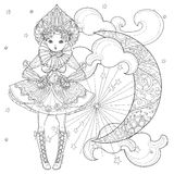 Vector cute fairy girl in flowers doodle Royalty Free Stock Photos
